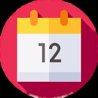 Agenda com o número 12, cabeçalho em amarelo e fundo vermelho