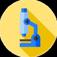 Ilustração de um microscópio sobre fundo amarelo